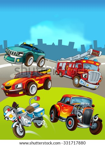Cartoon cars on the background - illustration for the children - stock photo