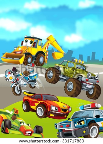 Cartoon cars on the background - illustration for the children