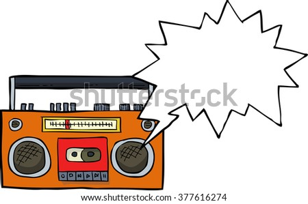 Cartoon cassette player doodle on white background raster version - stock photo