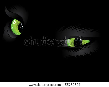 Cartoon cat eyes of green color on black background. - stock photo