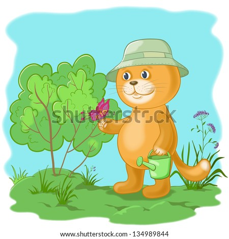 Cartoon, cat gardener with a butterfly in the garden
