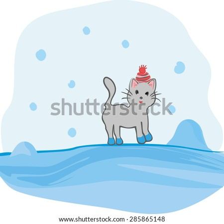 Cartoon cat on a winter walk, colored vector illustration