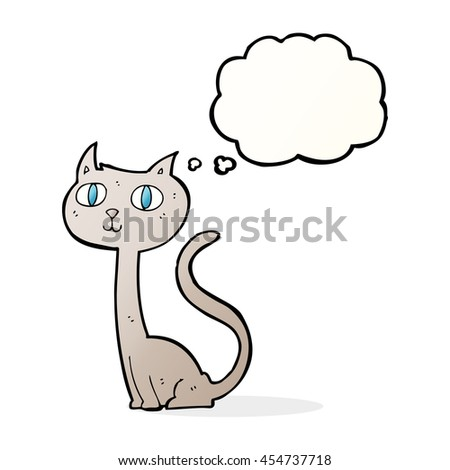 cartoon cat with thought bubble - stock photo