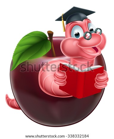 Cartoon caterpillar bookworm worm or caterpillar reading a book and coming out of an apple and wearing glasses and mortar board graduation cap - stock photo