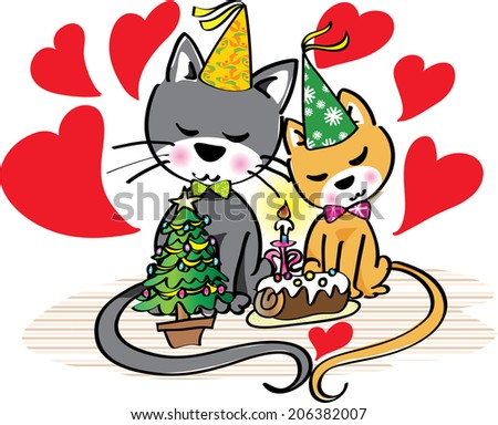 Cartoon cats fall in love at Christmas