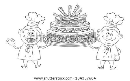 Cartoon character cooks - chefs with sweet holiday cake, black contour on white background. - stock photo