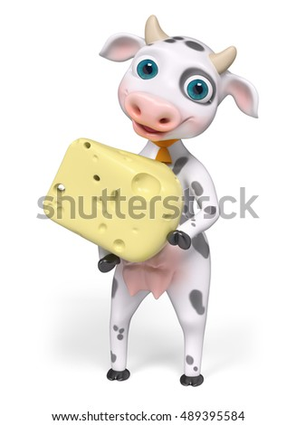 Cartoon character cow holding cheese , isolated 3d rendering
