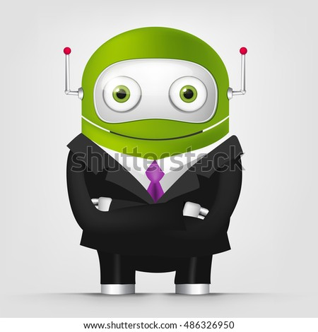 Cartoon Character Cute Robot Isolated on Grey Gradient Background. Businessmen Cross Hands.