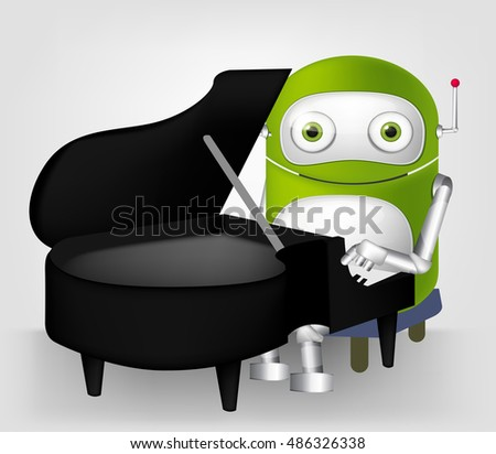 Cartoon Character Cute Robot Isolated on Grey Gradient Background. Pianist.
