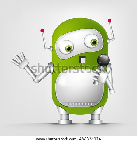 Cartoon Character Cute Robot Isolated on Grey Gradient Background. Singing.