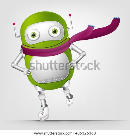 Cartoon Character Cute Robot Isolated on Grey Gradient Background. Skater.