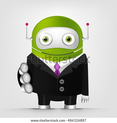 Cartoon Character Cute Robot Isolated on Grey Gradient Background. Trust.