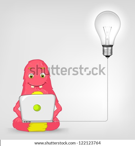 Cartoon Character Funny Monster Isolated on Grey Gradient Background. Coder. Vector EPS 10. - stock photo