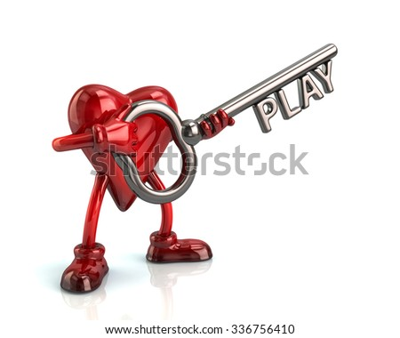 Cartoon character heart and silver key with word play - stock photo