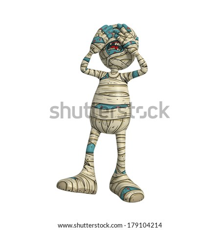 Cartoon character illustration of Scary Mummy Monster for Halloween closing eyes - see no evil - stock photo