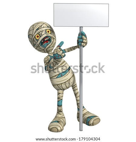 Cartoon character illustration of Scary Mummy Monster for Halloween holding and pointing to sign or placard - stock photo