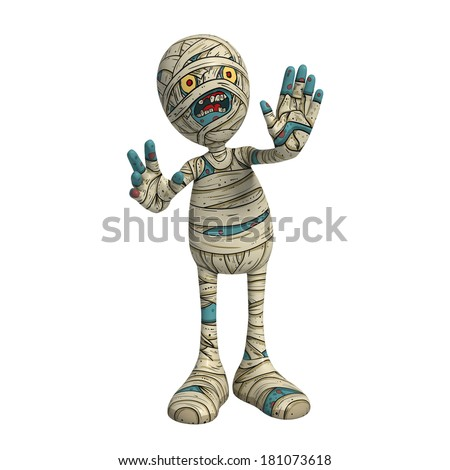 Cartoon character illustration of Scary Mummy Monster for Halloween indicating to stop and wait - stock photo
