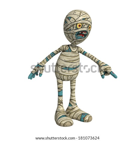 Cartoon character illustration of Scary Mummy Monster for Halloween pointing down - stock photo