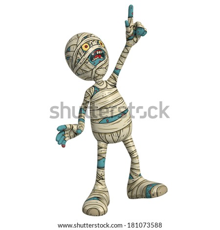 Cartoon character illustration of Scary Mummy Monster for Halloween pointing upward and laughing - stock photo