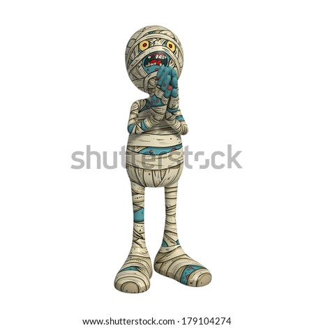 Cartoon character illustration of Scary Mummy Monster for Halloween praying - stock photo