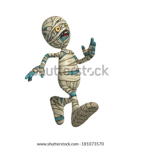 Cartoon character illustration of Scary Mummy Monster for Halloween running looking concerned - stock photo