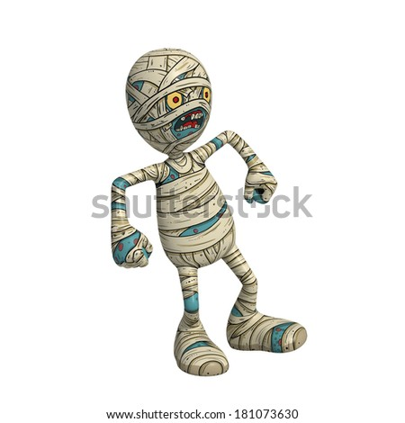 Cartoon character illustration of Scary Mummy Monster for Halloween throwing tantrum and being very angry - stock photo