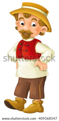 Cartoon character - male farmer - isolated - illustration for children