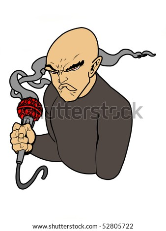 cartoon character of a man holding a smoking mic in his hand