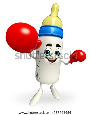 Cartoon Character of baby bottle with Boxing Gloves - stock photo