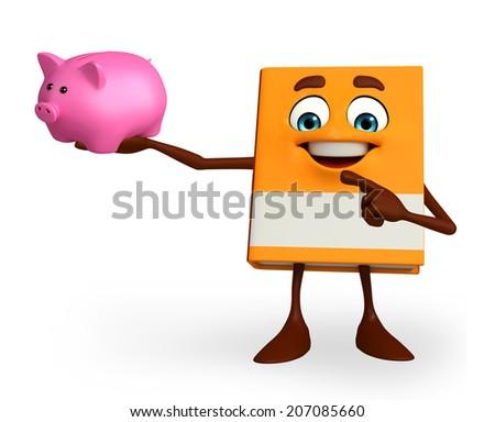 Cartoon Character of Book with piggy bank  - stock photo