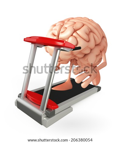 Cartoon character of brain with walking machine - stock photo