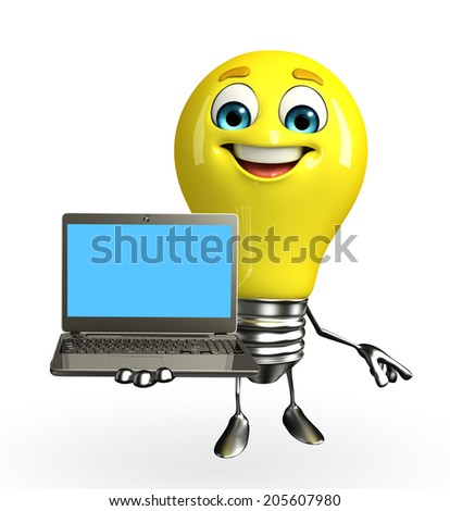 Cartoon Character of bulb with laptop - stock photo
