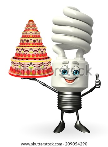 Cartoon Character of CFL with cake - stock photo