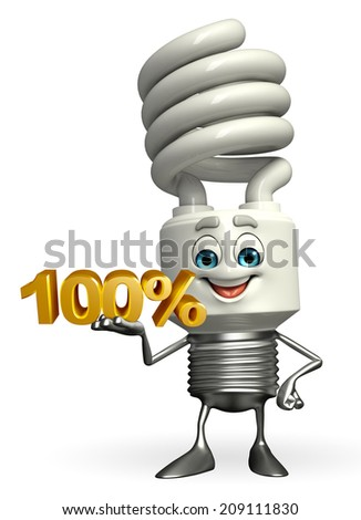 Cartoon Character of CFL with percent sign - stock photo
