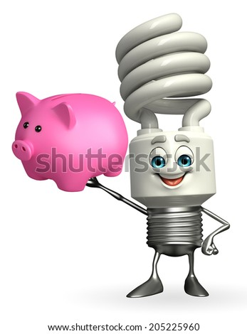 Cartoon Character of CFL with piggy bank - stock photo