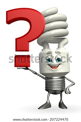 Cartoon Character of CFL with question mark - stock photo