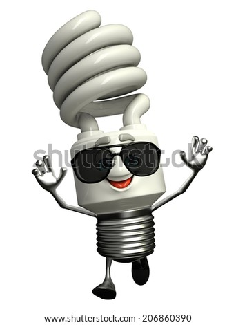 Cartoon Character of CFL with sun glasses - stock photo