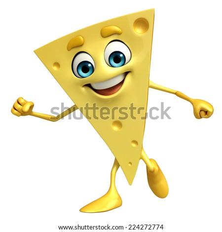 Cartoon Character of Cheese is running - stock photo