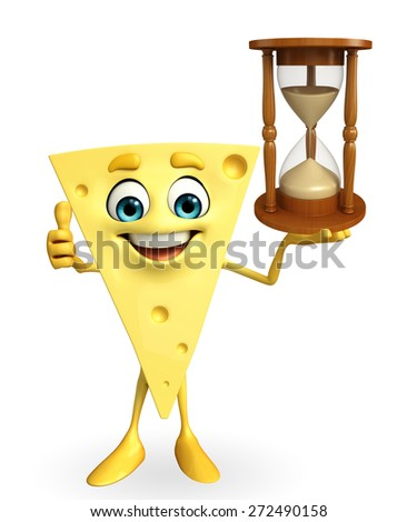 Cartoon Character of Cheese with sand clock - stock photo