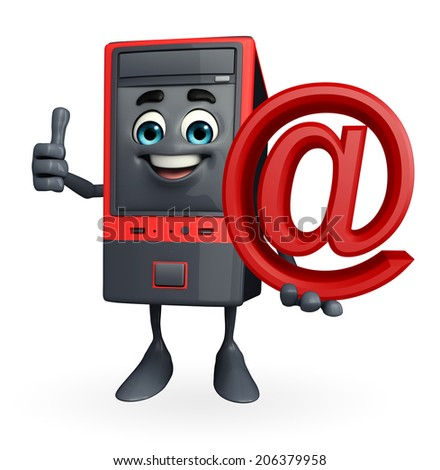 Cartoon Character of Computer Cabinet with at the rate   - stock photo