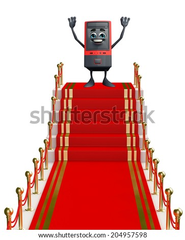 Cartoon Character of Computer Cabinet with carpet - stock photo