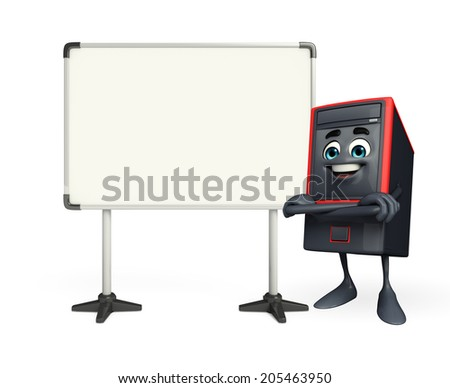 Cartoon Character of Computer Cabinet with display board  - stock photo