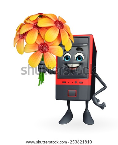 Cartoon Character of Computer Cabinet with flower - stock photo