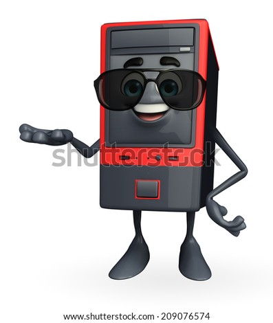 Cartoon Character of Computer Cabinet with holding pose - stock photo