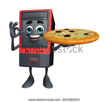 Cartoon Character of Computer Cabinet with pizza - stock photo