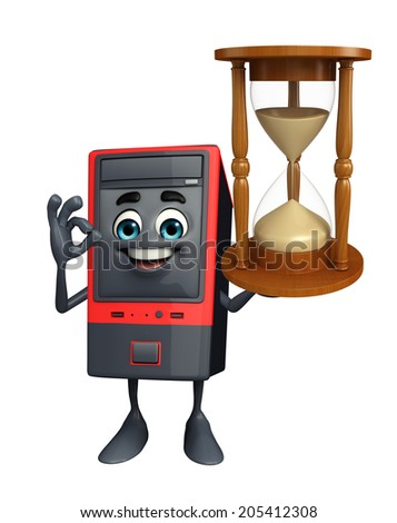 Cartoon Character of Computer Cabinet with sand clock - stock photo