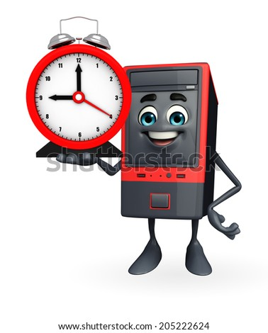 Cartoon Character of Computer Cabinet with table clock - stock photo