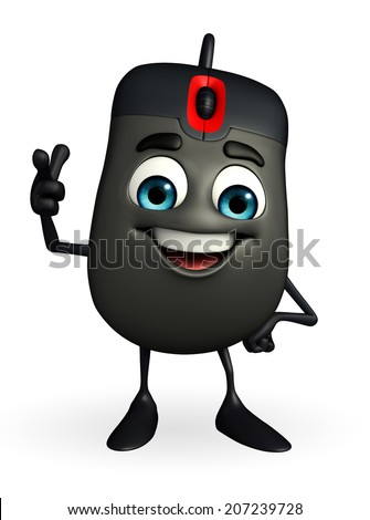 Cartoon Character of Computer Mouse is pointing - stock photo