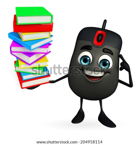 Cartoon Character of Computer Mouse with Books pile - stock photo