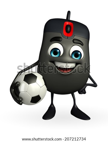 Cartoon Character of Computer Mouse with football - stock photo
